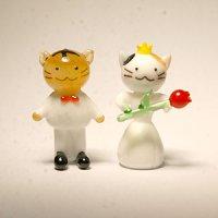 ネコさんカップル 結婚祝い ガラス細工 雑貨 置物