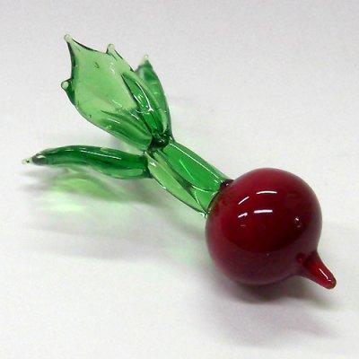 画像1: ガラスの箸置き<5個1,500円セット対応>赤カブ ガラス細工 雑貨 置物