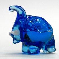 まるゾウ ブルー ガラス細工 雑貨 置物