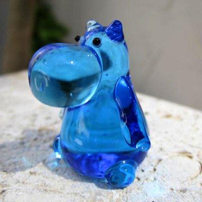 画像1: ブルーのカバさん ガラス細工 雑貨 置物