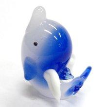他の写真1: 天使イルカ L 座り ブルー ガラス細工 雑貨 置物