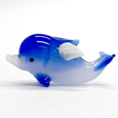画像1: 天使イルカ S 伏せ ブルー ガラス細工 雑貨 置物