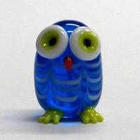 マーブル丸ふくろう ブルー ガラス細工 雑貨 置物