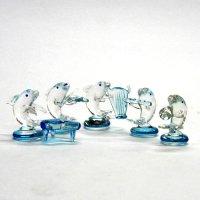 クリアイルカ楽団 5P ガラス細工 雑貨 置物
