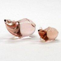 ピンクの親子ねずみ 干支 ガラス細工 雑貨 置物