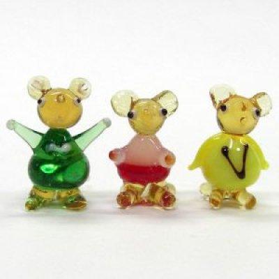 画像1: ねずみ人形 3匹セット 干支 ガラス細工 雑貨 置物