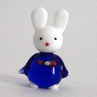 うさぎ人形 M ブルー 干支 ガラス細工 雑貨 置物