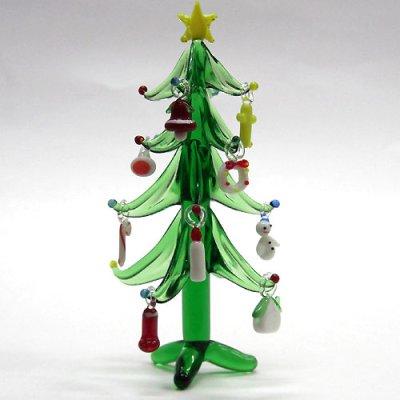 画像1: クリスマスツリー 12.5cm 9P クリスマス ガラス細工 雑貨 置物