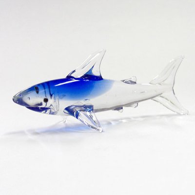 画像1: サメ ガラス細工 雑貨 置物