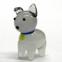 立ち犬 グレー ガラス細工 雑貨 置物