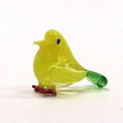 画像1: クリアバード イエロー 鳥 ガラス細工 雑貨 置物