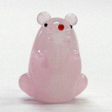 他の写真1: 風水ねずみ ピンク L 干支 ガラス細工 雑貨 置物