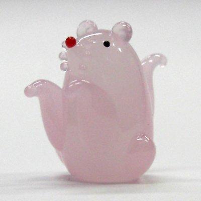画像1: 風水ねずみ ピンク L 干支 ガラス細工 雑貨 置物