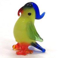 オウム ブルー 鳥 ガラス細工 雑貨 置物