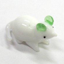 他の写真1: ミニミニ白ねずみ グリーン 干支 ガラス細工 雑貨 置物