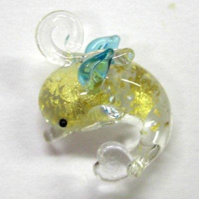画像1: いるか 天使イルカ ゴールド ガラス細工 雑貨 ピアス