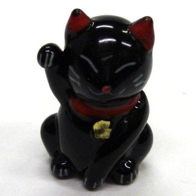 画像2: 招き猫のガラス細工 カラー招き猫 ブラック