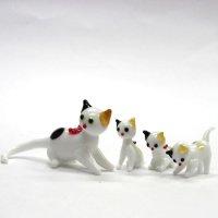 日本ネコ 親子4匹セット ガラス細工 雑貨 置物