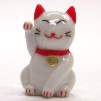 カラー招き猫 ホワイト ガラス細工 雑貨 置物