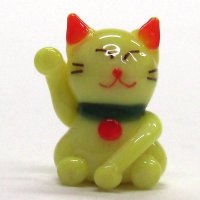 カラー招き猫 イエロー ガラス細工 雑貨 置物
