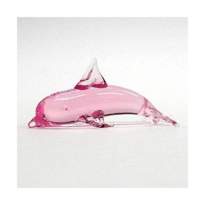 画像1: クリアイルカ 飛び ピンク ガラス細工 雑貨 置物