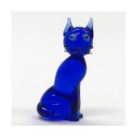ねこ(猫) 4色シャムネコ ブルー ガラス細工 雑貨 置物