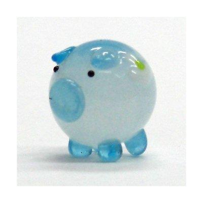 画像1: 花ぶた ブルー S ガラス細工 雑貨 置物