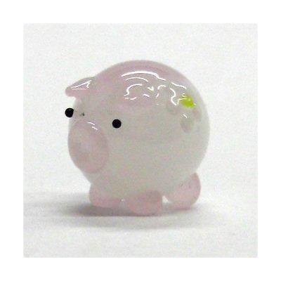 画像1: 花ぶた ピンク S ガラス細工 雑貨 置物
