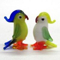 オウム ペア 鳥 ガラス細工 雑貨 置物