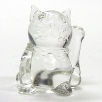 クリア招き猫 ガラス細工 雑貨 置物