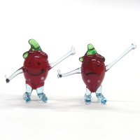 フルーツ・野菜のガラス細工いちご(苺) ペアのイチゴちゃん ガラス細工 雑貨 置物