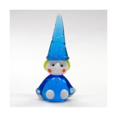 画像1: 青い洋服の座小人 L メルヘン ガラス細工 雑貨 置物