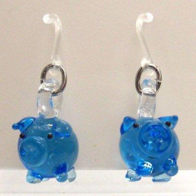 画像1: ブルーのブタさん ガラス細工 雑貨 ピアス
