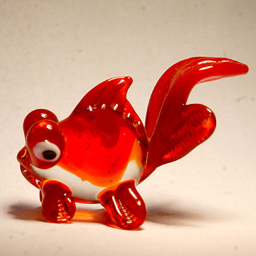 画像1: 金魚 出目金 レッド ガラス細工 雑貨... ガラス細工 黒出目金