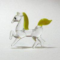 十二支・午 クリアガラス イエロー ガラス細工 雑貨 置物