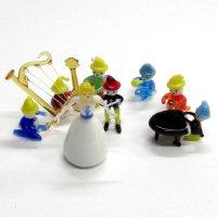 白雪姫と7人の小人楽団 ガラス細工 雑貨 置物