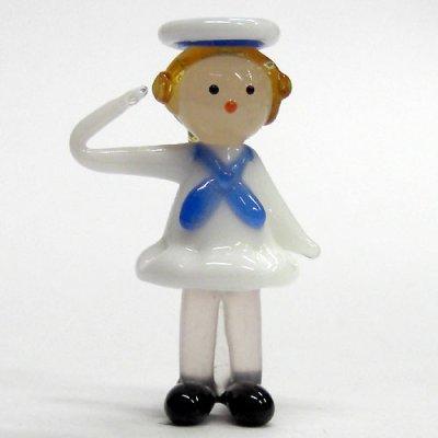 画像1: セーラー人形 女の子 ガラス細工 雑貨 置物