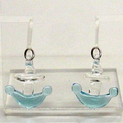 画像1: 錨(いかり) ガラス細工 雑貨 ピアス