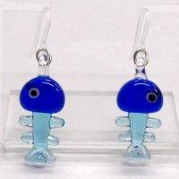 魚の骨 ブルー ガラス細工 雑貨 ピアス