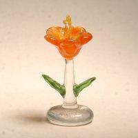 ハイビスカス オレンジ 花 ガラス細工 雑貨 置物