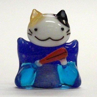 画像1: 江の島ミケ 福助ネコ 江の島ネコ ガラス細工 雑貨 置物