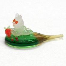 他の写真1: うちわうさぎ 正面向 干支 ガラス細工 雑貨 置物