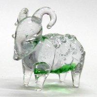 ヒツジ オス クリアー緑 干支 ガラス細工 雑貨 置物