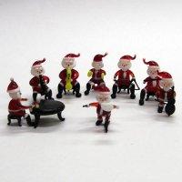 サンタクロース楽団 8P クリスマス ガラス細工 雑貨 置物