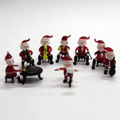 画像1: サンタクロース楽団 8P クリスマス ガラス細工 雑貨 置物