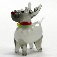 赤鼻のトナカイ ホワイト クリスマス ガラス細工 雑貨 置物