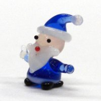 ミニミニサンタさん ブルー クリスマス ガラス細工 雑貨 置物
