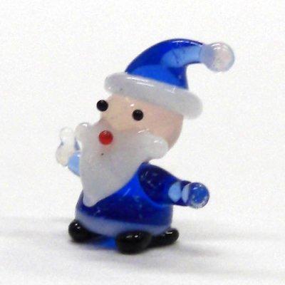 画像1: ミニミニサンタさん ブルー クリスマス ガラス細工 雑貨 置物