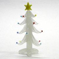 ホワイトツリー 7.5cm クリスマス ガラス細工 雑貨 置物