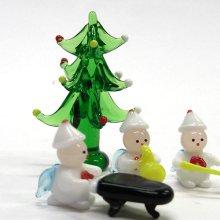 他の写真1: 20%OFF Xmas小人楽団 ホワイト クリスマス ガラス細工 雑貨 置物